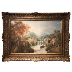 Large 19th Century Scottish Landscape Watercolor