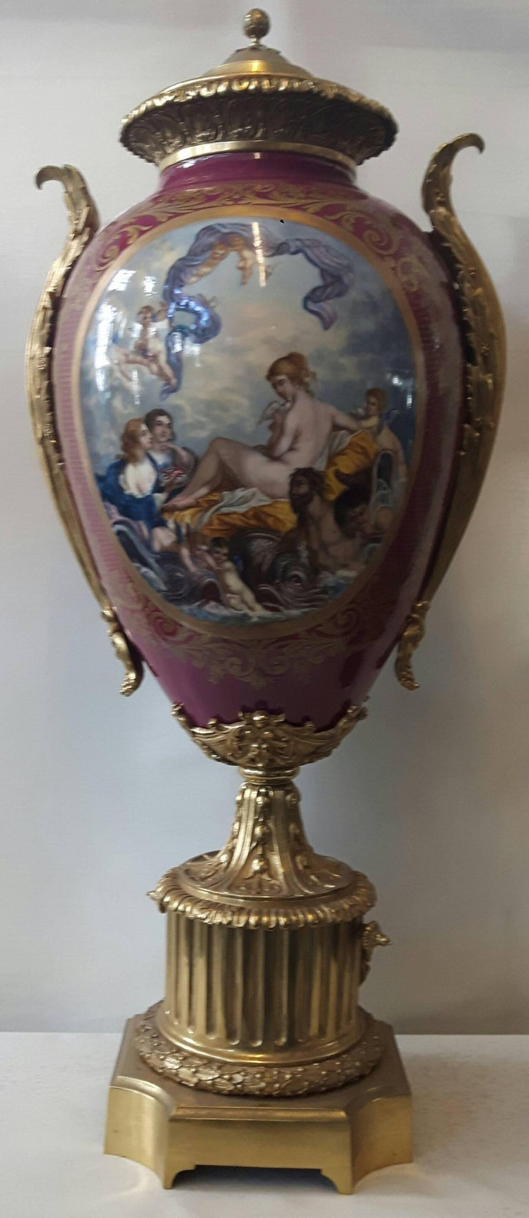 French Large 19th Century Sevres, Style Vase For Sale