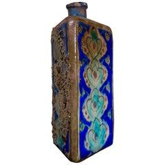 Large 19th Century Triangular Persian Vase Colourful, Blue