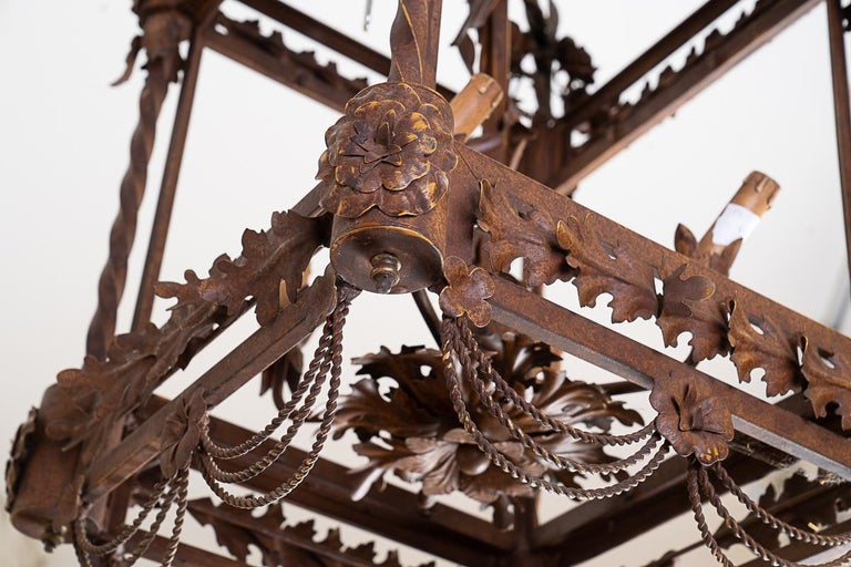 French Large 19thc Iron Lantern For Sale