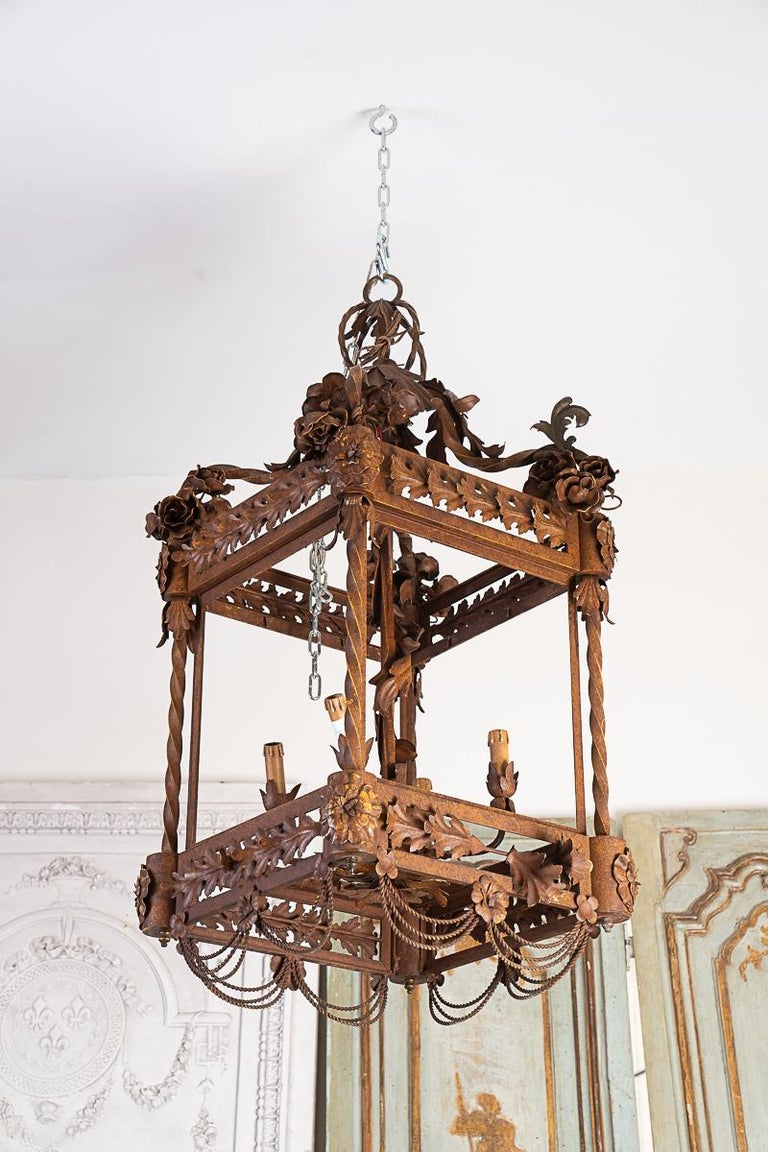 Hand-Crafted Large 19thc Iron Lantern For Sale