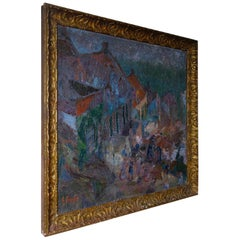 Large 20th Century Oil on Canvas Landscape Painting, Square Gilded Frame