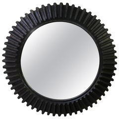 Large American Wooden Cog Wheel Now Mounted as a Mirror