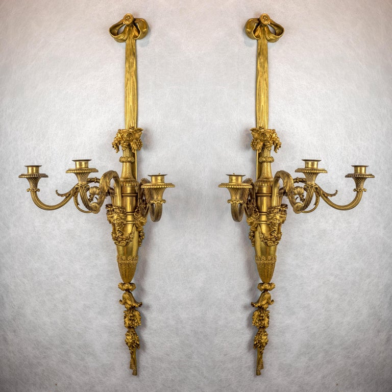 Louis XVI Large and Fine Pair of Henri Vian French Ormolu Three-Light Wall Light Sconces For Sale