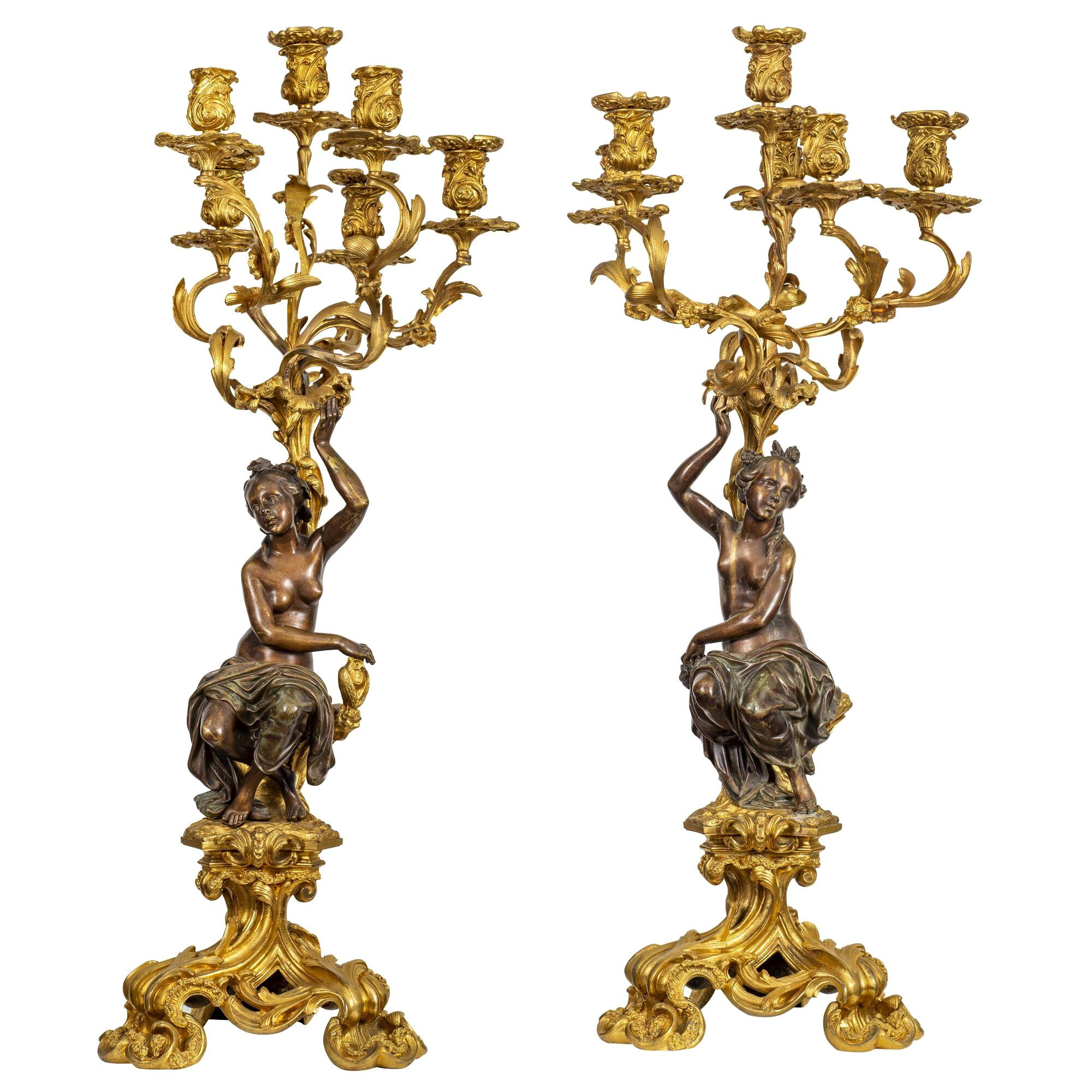 Large and Fine Pair of Louis XVI Patinated and Gilt-Bronze Candelabra