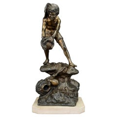 Large and Impressive Antique Figure of a Fisher Boy Standing on Rock