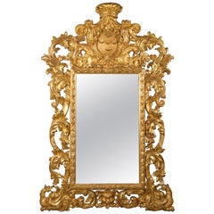 Large and Impressive Baroque Style Carved Giltwood Mirror, circa 1870