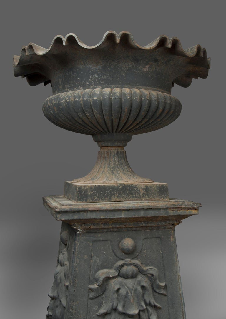 Large and Impressive Pair of Cast Iron Urns, circa 1860 In Good Condition For Sale In London, GB