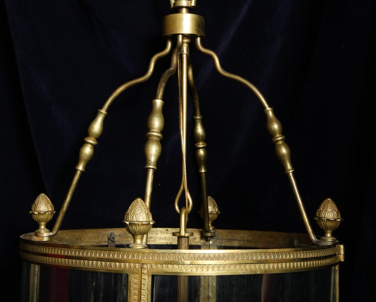 European Large Antique French Gilt Bronze and Glass Multi Light Lantern For Sale