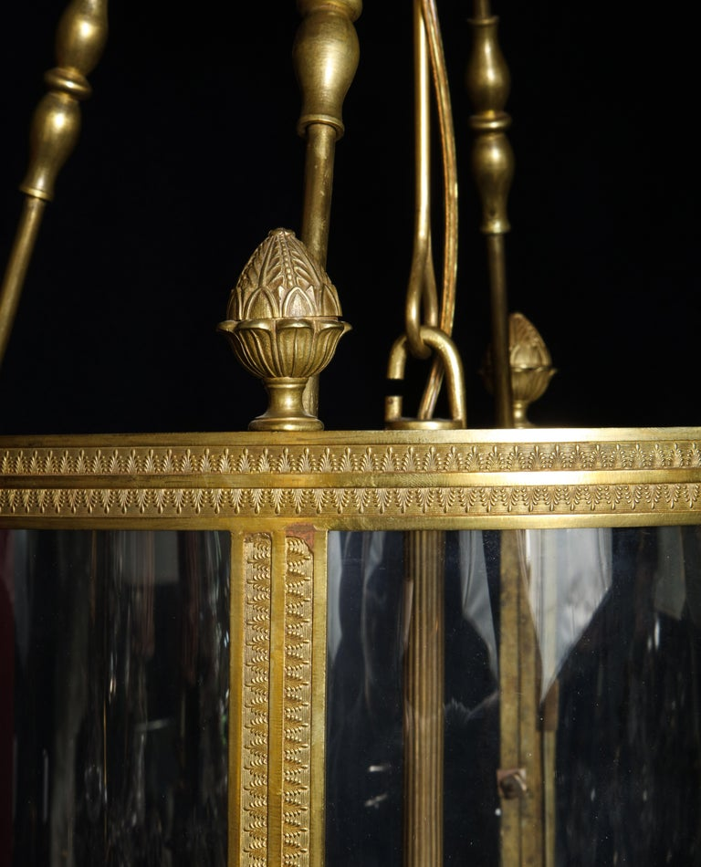 Large Antique French Gilt Bronze and Glass Multi Light Lantern In Good Condition For Sale In New York, NY