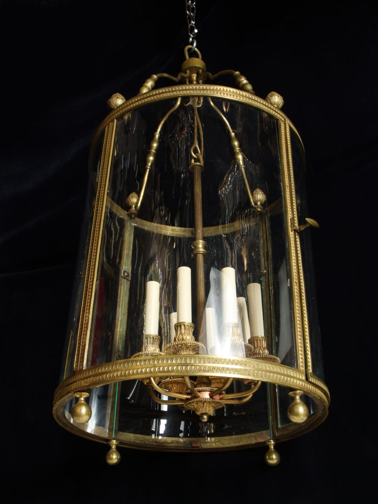 20th Century Large Antique French Gilt Bronze and Glass Multi Light Lantern For Sale