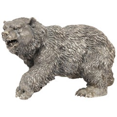 Large Antique French Silvered Figure of Polar Bear, circa 1900