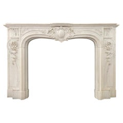 Large Antique French White Marble Rococo Fireplace Mantel
