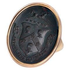 Large Antique Georgian Crested Bloodstone Intaglio Ring