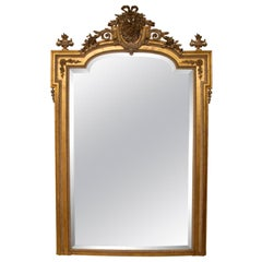 Large Antique Gilded Overmantle Wall Mirror