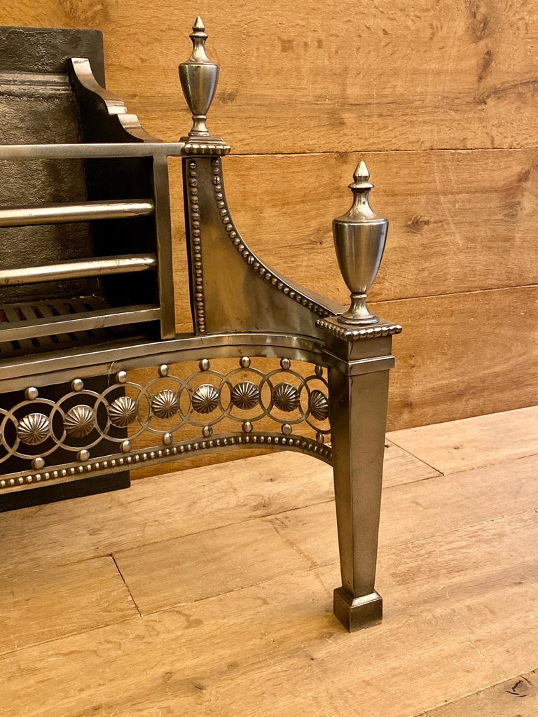 Scottish Large Antique Late 19th Century Polished Steel Fire Grate For Sale