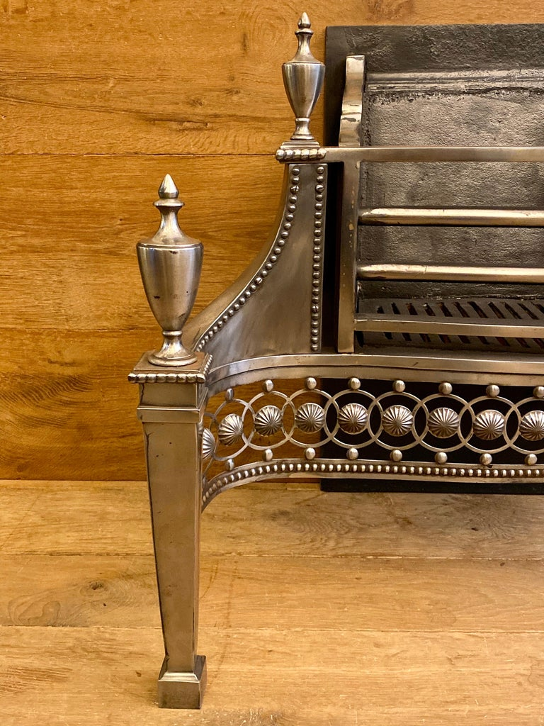 18th Century Large Antique Late 19th Century Polished Steel Fire Grate For Sale