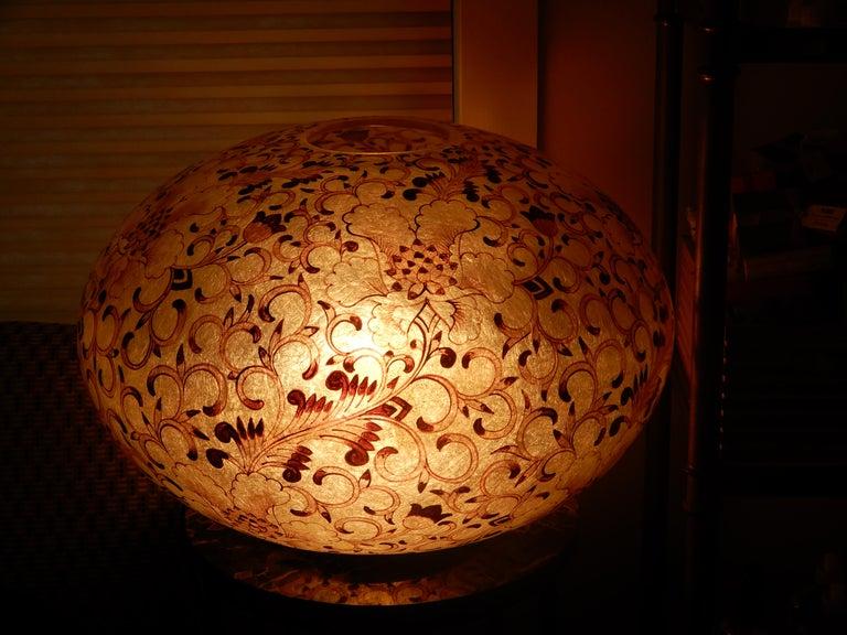 Art Nouveau Large Artisan Lucite Mid century Venetian  Globe Shaped Lamp For Sale