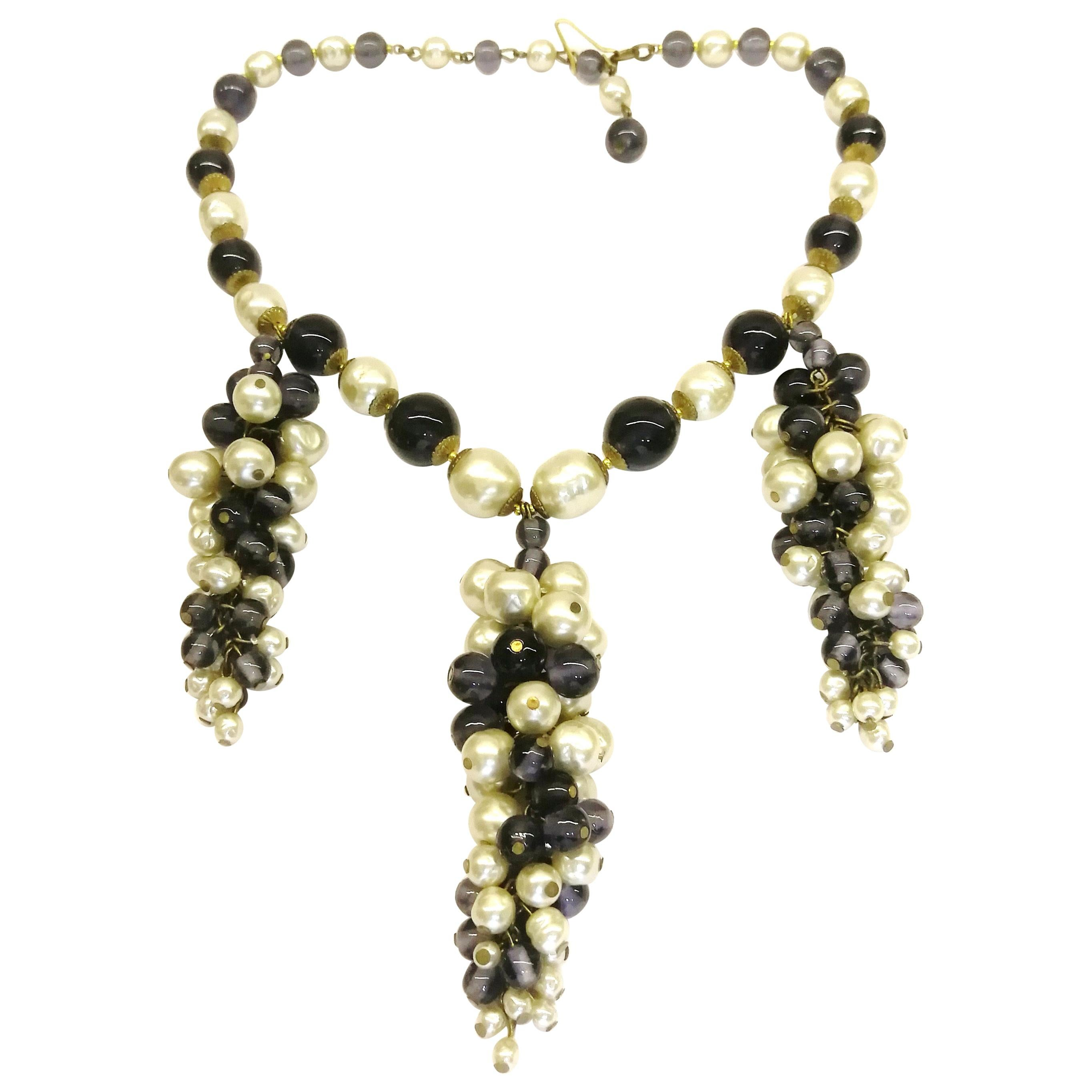 Stunning Gold Tone Chain Link Necklace with Large Faux Pearl Droplet Pendants