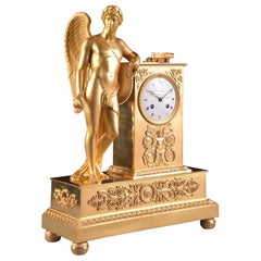 "Large Beautiful France Fire-Gilt Bronze Empire Clock ""Allegory of poetry"""