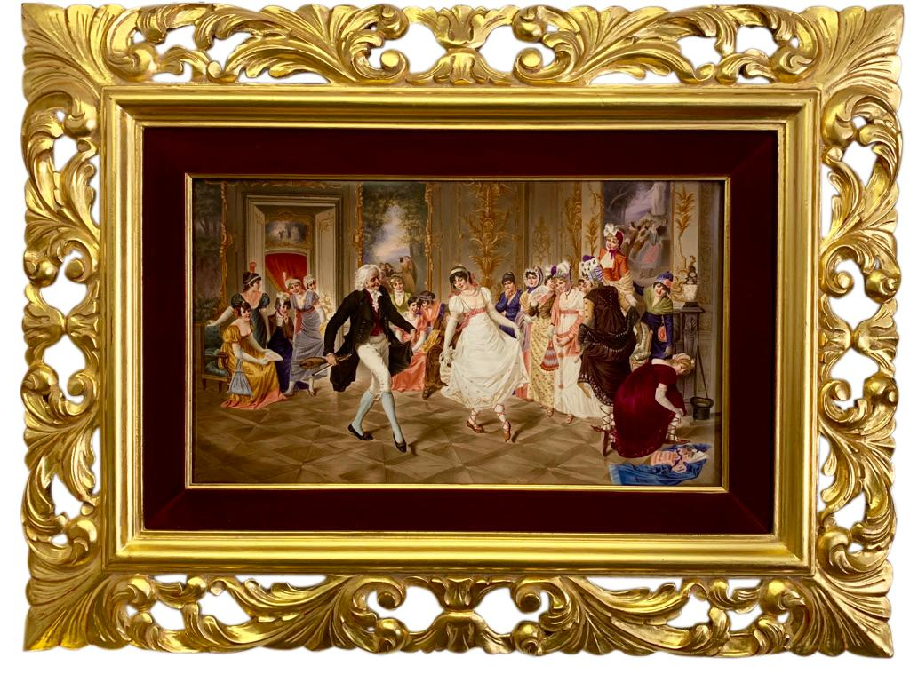 """Large Berlin KPM Porcelain Plaque, """"The Dancing Lesson of Our Grandmother"""""""