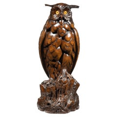 Large Black Forest Lindenwood Eagle Owl Attributed to the Ruef Brothers