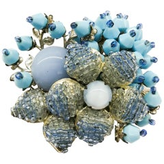 A large blue glass and paste 'floral' brooch, Miriam Haskell, 1960s