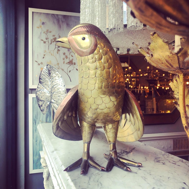 Large Brass and Copper Game Bird by Bustamante  In Good Condition For Sale In London, GB
