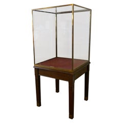 Large Brass and Mahogany Museum Display Cabinet