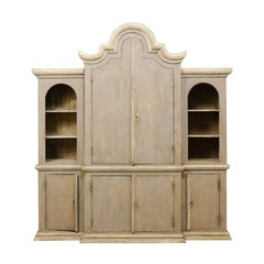 Large Brazilian Painted Wood Cabinet with Display Shelves and Storage