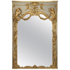 Large Carved Louis XV Style Parcel-Gilt and Painted Trumeau Mirror, circa 1890