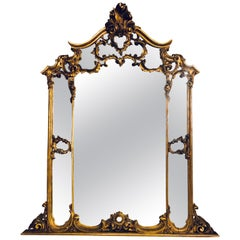 Large Carved Louis XVI Style French Gilt Gold over the Mantle or Wall Mirror