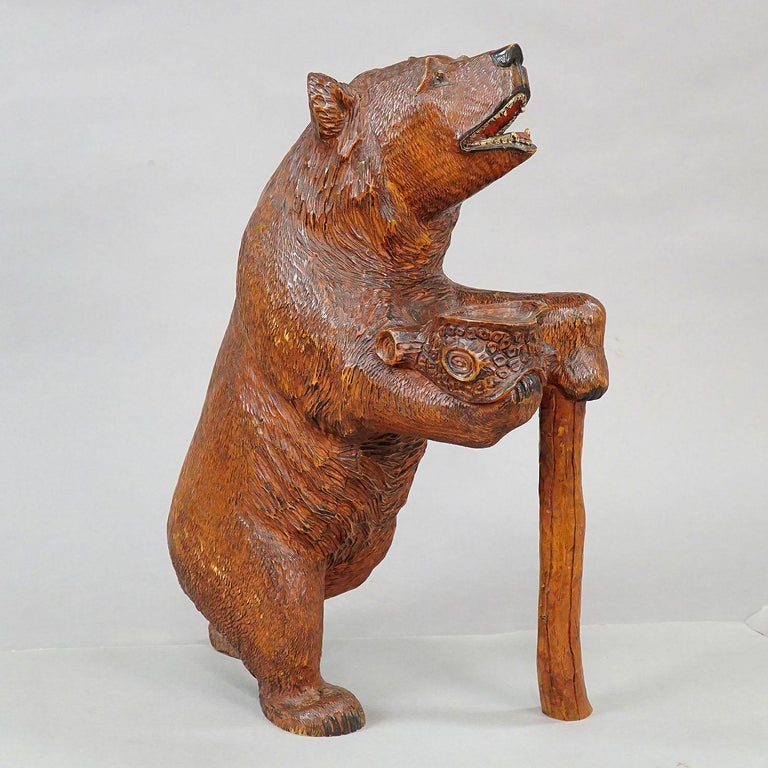 Swiss Large Carved Standing Black Forest Bear, Brienz, circa 1930 For Sale