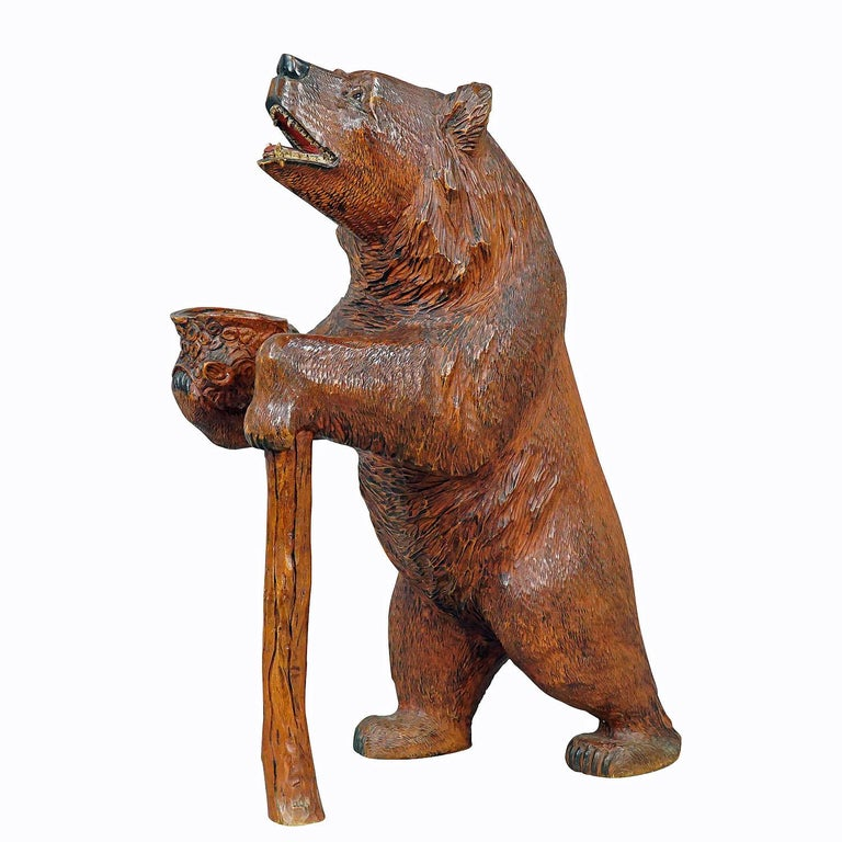 Large Carved Standing Black Forest Bear, Brienz, circa 1930 For Sale