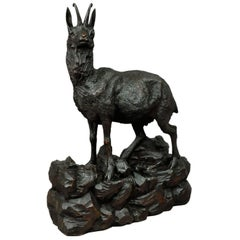 Large Carved Wood Chamois Sculpture, Black Forest, circa 1900