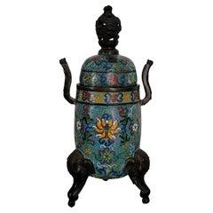 Large Chinese Cloisonné Tripod Incense Buner