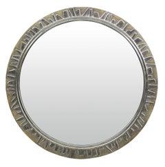 Large Circular Mirror in Silver Leaf