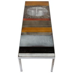 "Large Cocktail Table ""Table au soleil"" Steel, Ceramic Tiles"