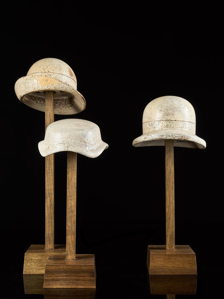 French Large Collection of 25 Wooden Hat Forming Shape Models on Custom Made Stands For Sale