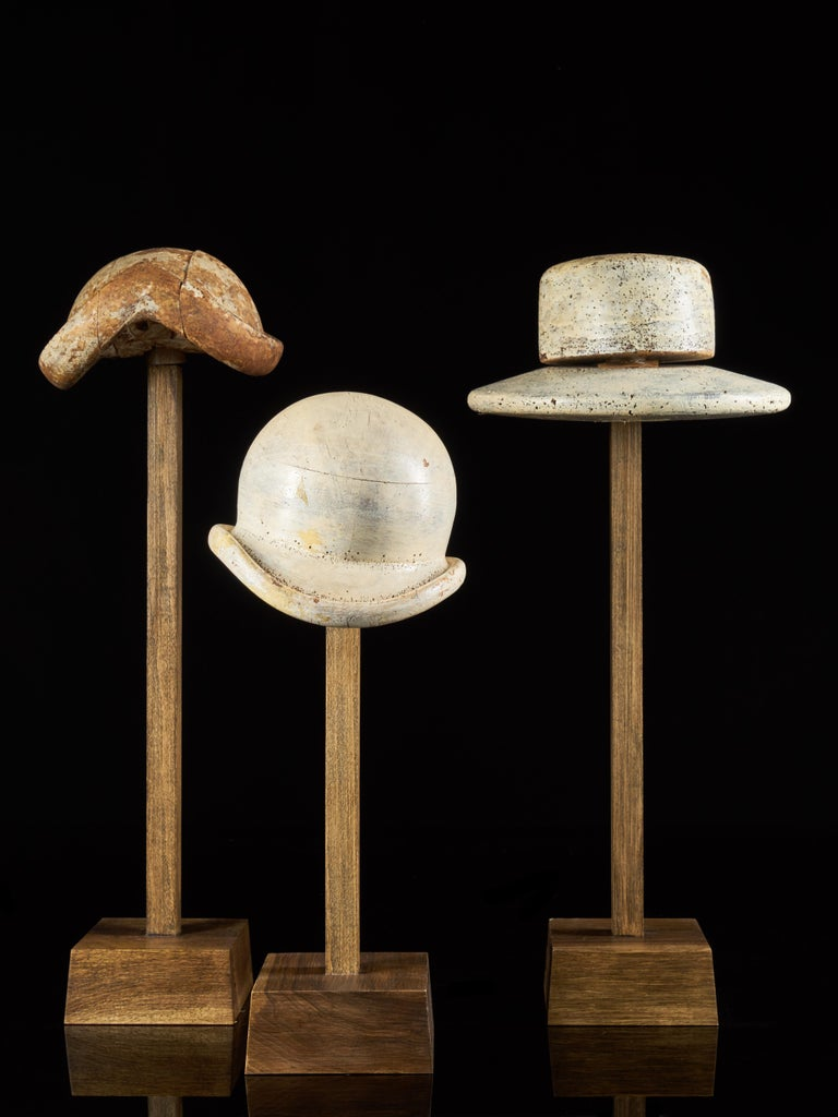 Large Collection of 25 Wooden Hat Forming Shape Models on Custom Made Stands For Sale 1