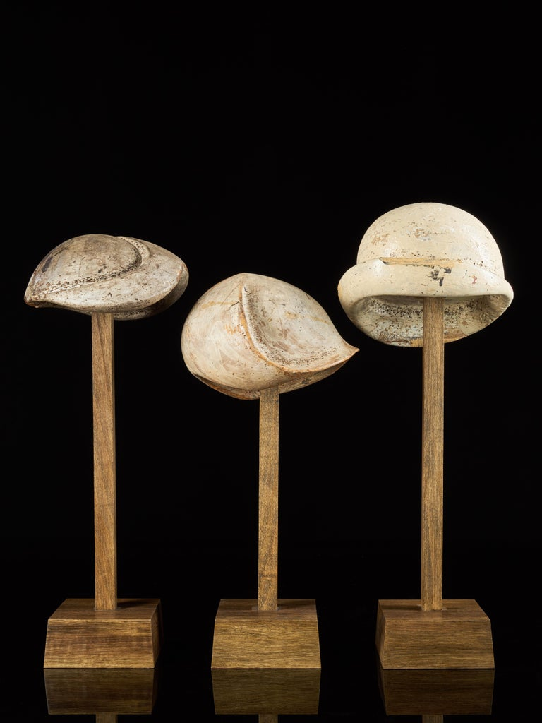 Large Collection of 25 Wooden Hat Forming Shape Models on Custom Made Stands For Sale 2