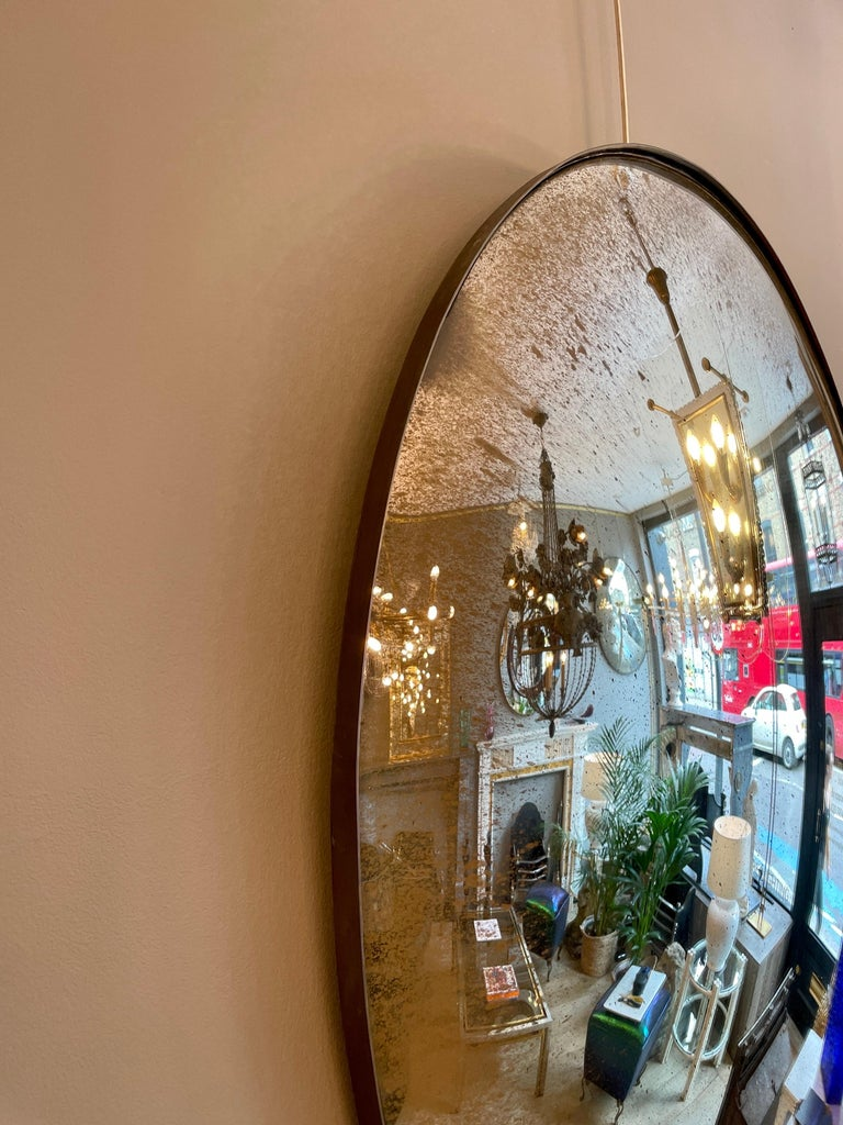 Large Convex Oval Silver Distressed Mirror In Good Condition For Sale In London, GB