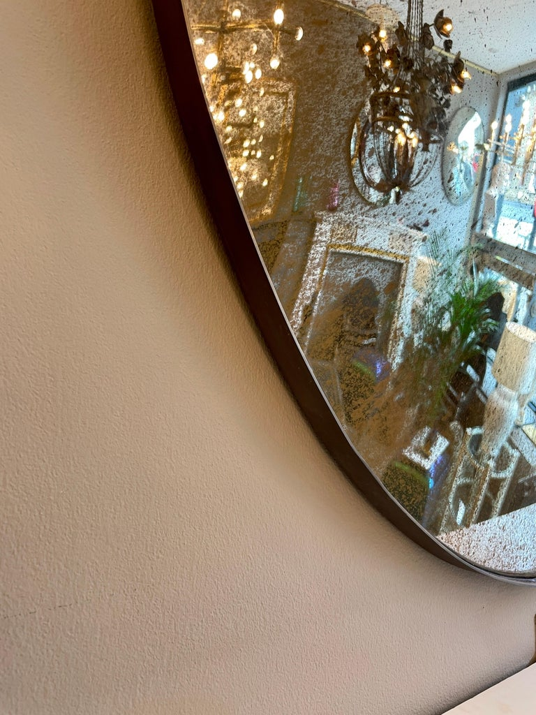 Contemporary Large Convex Oval Silver Distressed Mirror For Sale