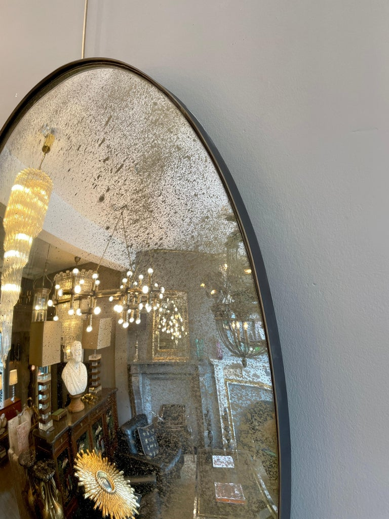 Large Convex Oval Silver Distressed Mirror For Sale 2
