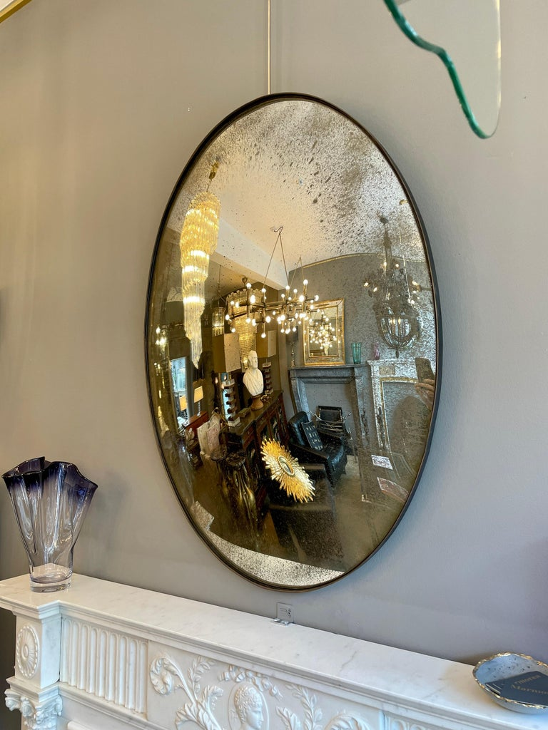 Large Convex Oval Silver Distressed Mirror For Sale 3