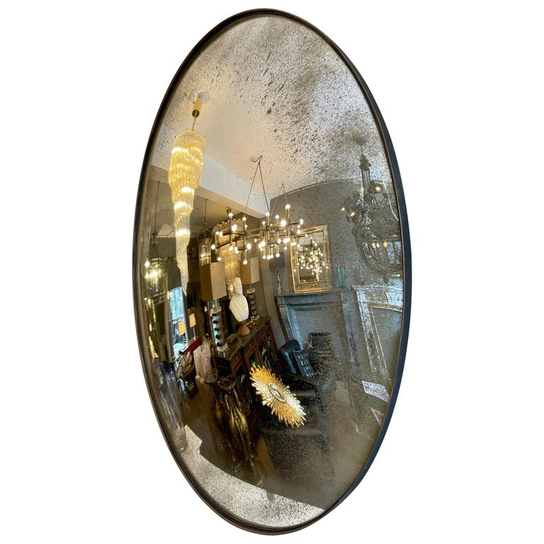 Large Convex Oval Silver Distressed Mirror For Sale