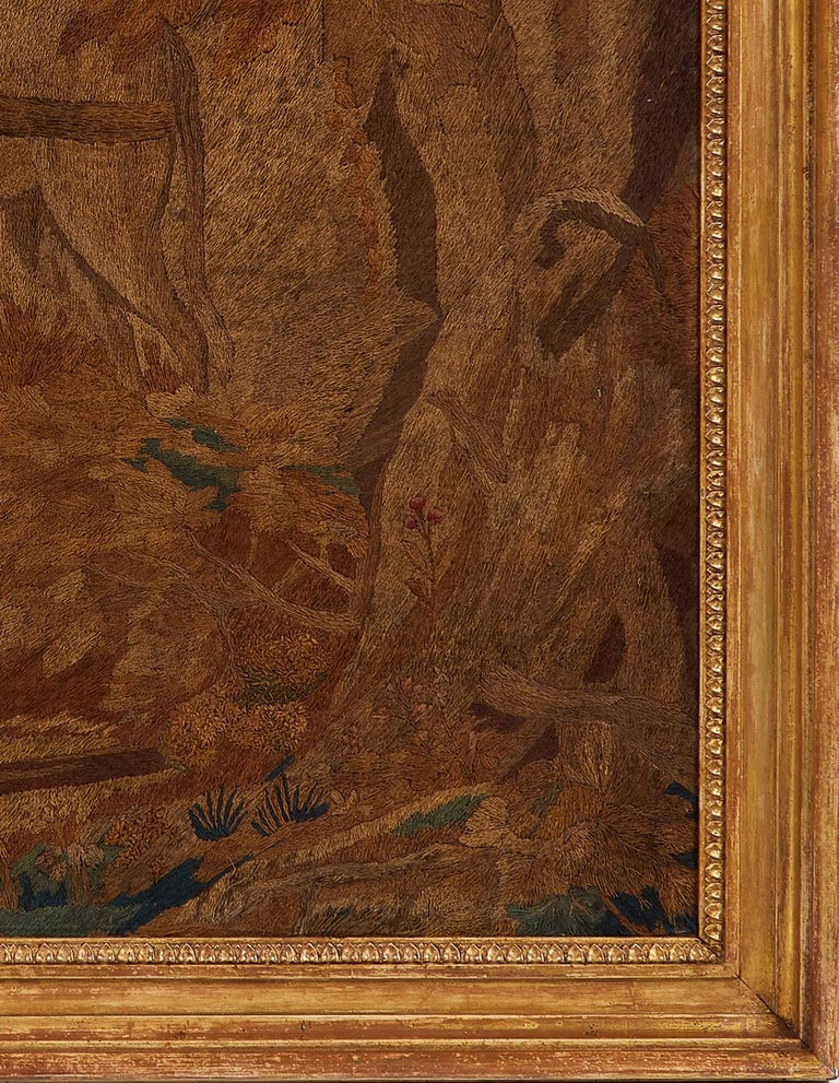 English Large Early 19th Century Painted and Silkwork Picture 'The Good Samaritan' For Sale