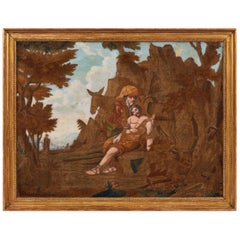 Large Early 19th Century Painted and Silkwork Picture 'The Good Samaritan'