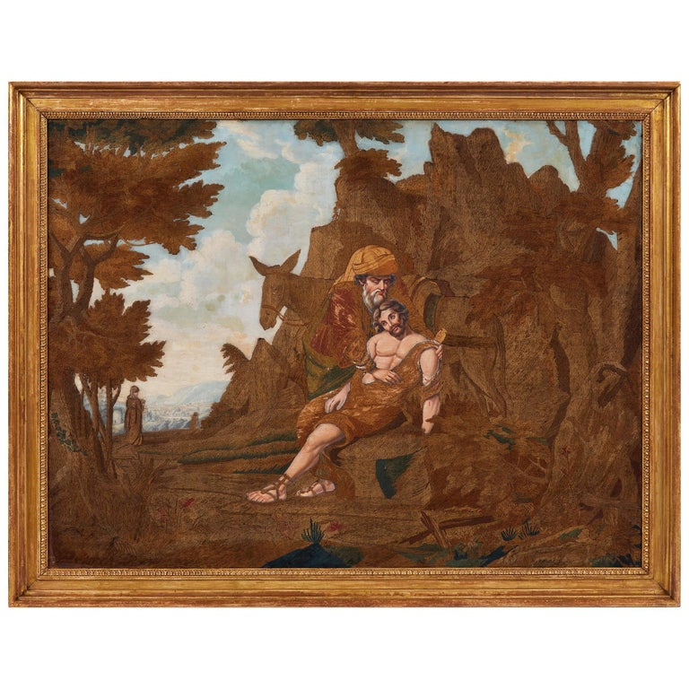 Large Early 19th Century Painted and Silkwork Picture 'The Good Samaritan' For Sale