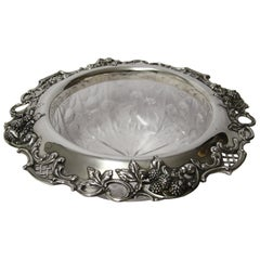 Large Early 20th Century Tiffany & Co. Silver Mounted Intaglio Cut Glass Bowl